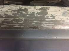 There are a few rust spots where the stainless trim sat that will need to be cut out and repaired.