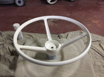 The wheel was then painted with Rustoleum Satin Heirloom, which was a perfect colour match for the original wheel.